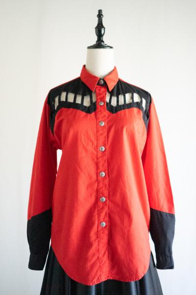 Red×Black Cutout design Western Blouse