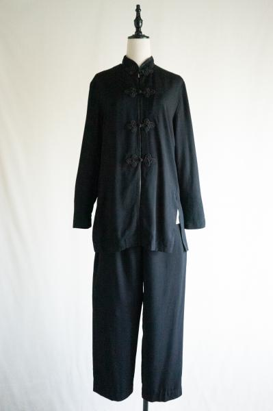 China style Black Blouse×Pants Set up