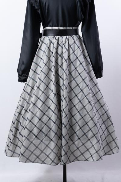 Made In Euro Gray×Black Check Flare Skirt