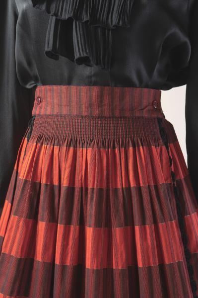 Made In Euro Red×Black with Apron Tyrol Skirt