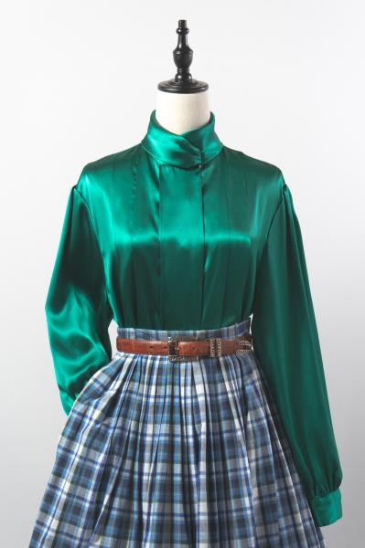 Pleats Design Green Glossy Blouse