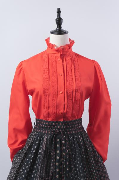 Lace Design Red Puff Blouse