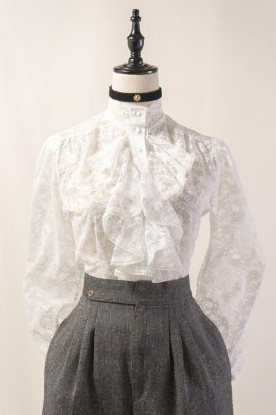 All White Lace Romantic Blouse