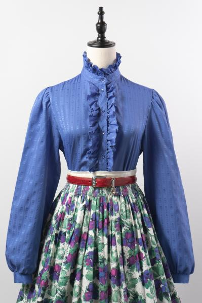 Retro Stripe Frill Design Smokey Blue Blouse