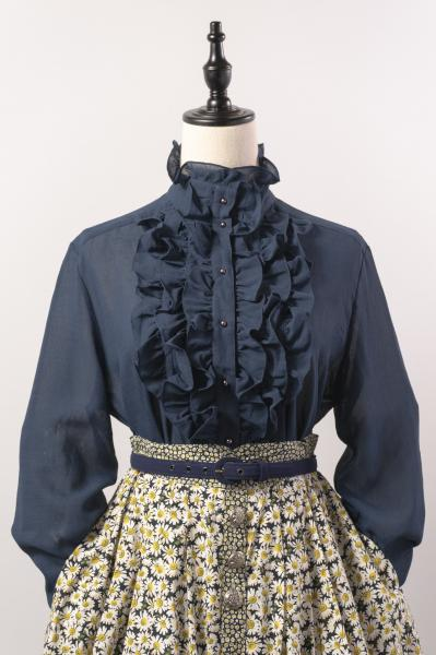 Made In Euro Frill Bosom Sheer Navy Blouse