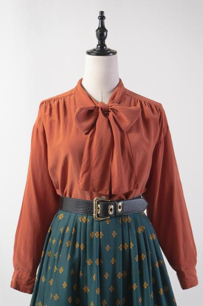 Bow Tie Design Orange Brown Silk Blouse
