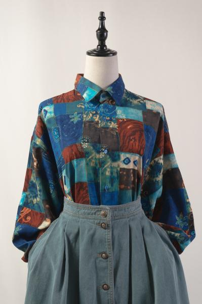 Patchwork Like Print Blue×Brown Blouse