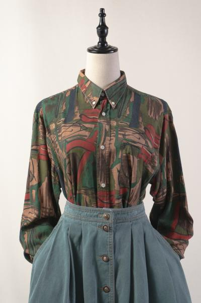 Camouflage Like Art Pattern Blouse