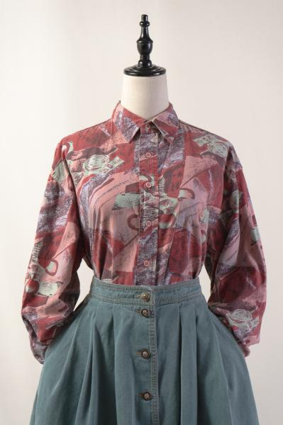 Made In Euro Grunge Art Dark Red Blouse