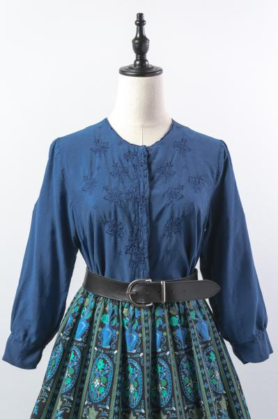 Flower×Cutwork Dark Blue  Blouse
