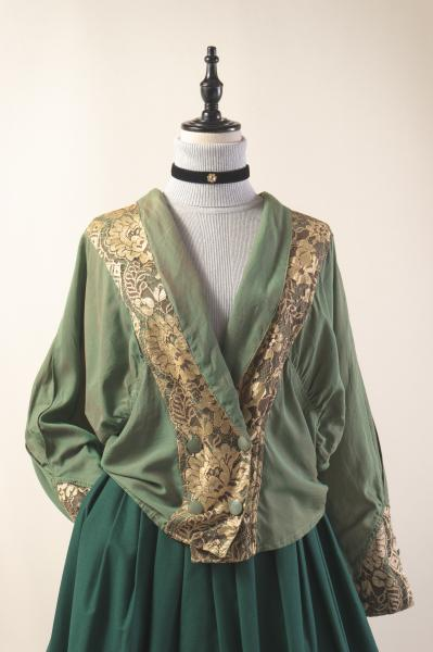 Made In France Gold Lace Aurora Green Blouse