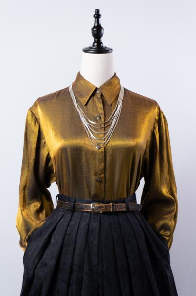Made In Euro Brown Gold Glossy Blouse
