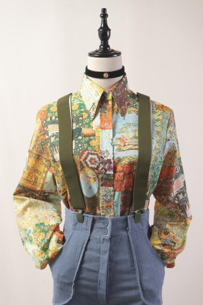 70's Mluti Retro Painting Blouse