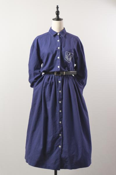 Point Embroidery Blue Purple Shirt Dress