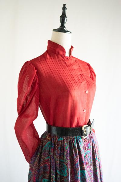 Red Stand stripe Puff Blouse