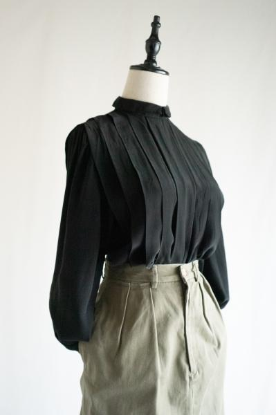 Double collar×Pleats Silk Tops