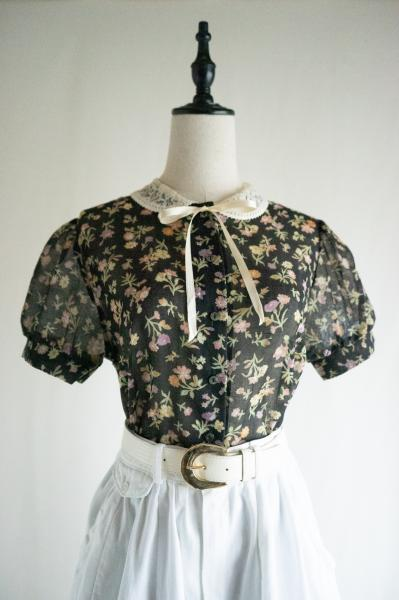 Retro flower Black sheer Blouse