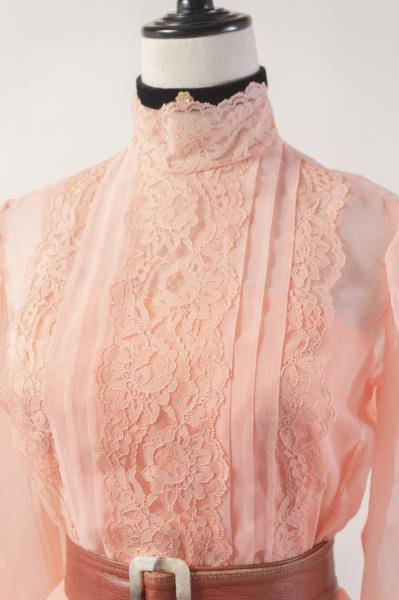 Dead stock Lace×Salmon Pink Sheer Long Dress
