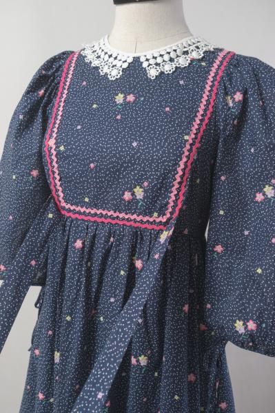 70's Vera Mont Flower×Pin Dot Navy Maxi Dress