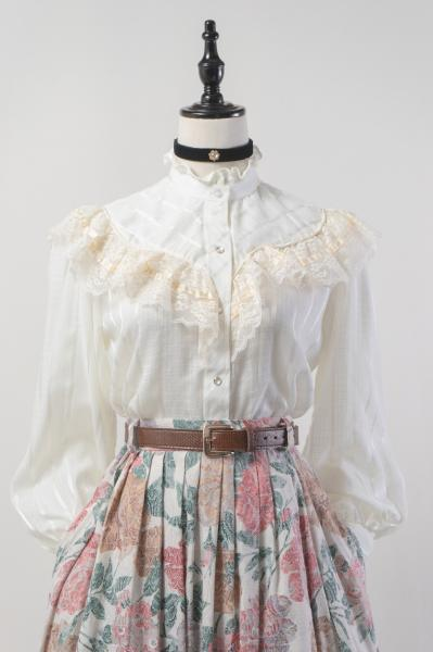 70's Lace Frill Rabatine Collar Off White Blouse
