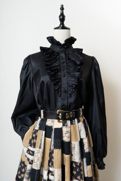 Made In Euro C&A Pleats frill Black Blouse