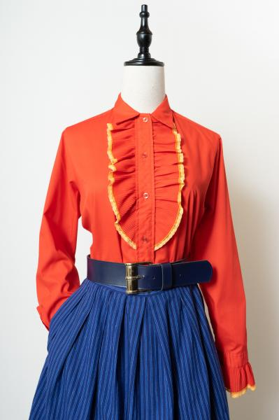 Pleats Frill Bosom Red Blouse