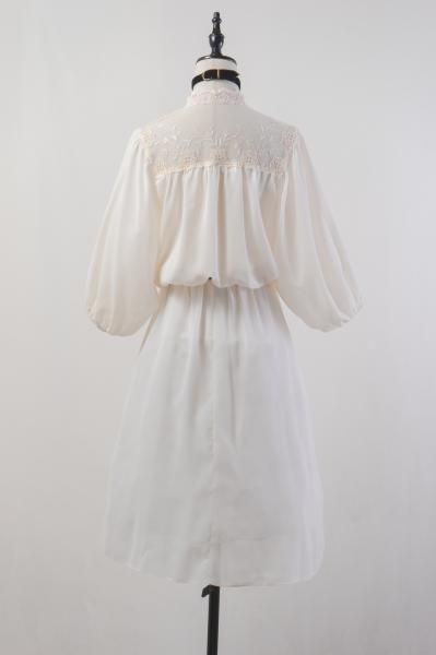70's Flower Tulle Lace×Ivory Sheer Dress