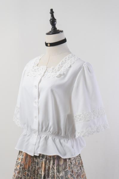 Made In Euro Crochet Lace White Short Blouse