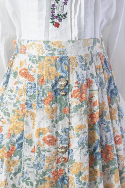 Made In Euro Colorful Flower×White Tyrol Skirt