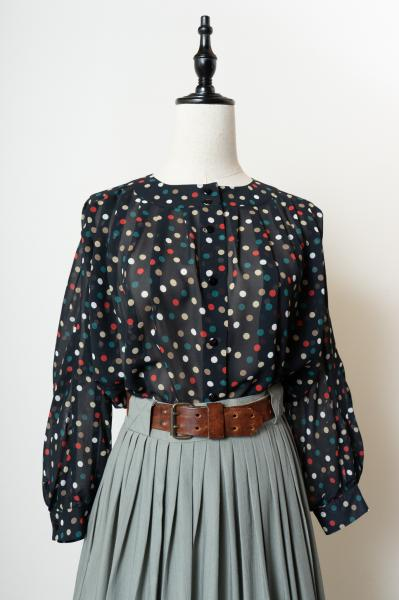 Made In W-Germany Colorful Dot Sheer Blouse