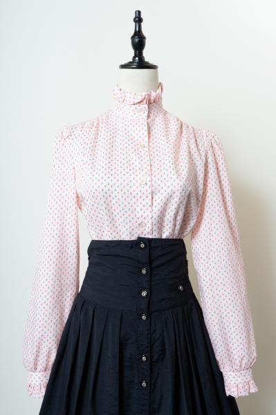 Small Pattern Frill Design Pink Blouse
