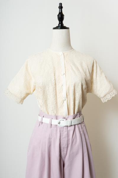 60's Flower Ivory Lace Blouse
