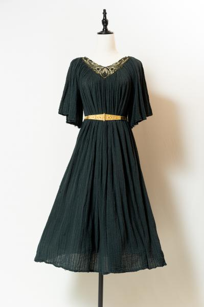 Made In Greece Black Embroidery Dress