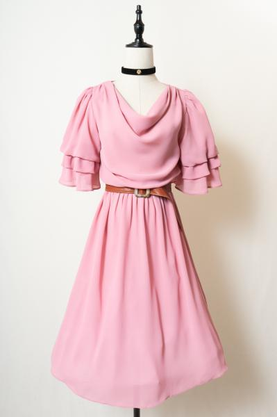 Tiered sleeve Design Pink Dress