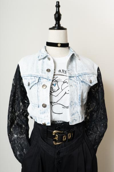 Lace Sleeve Remake Denim Jacket