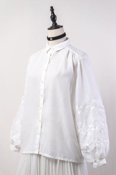 Made In Euro Flower Embroidery White Sheer Blouse