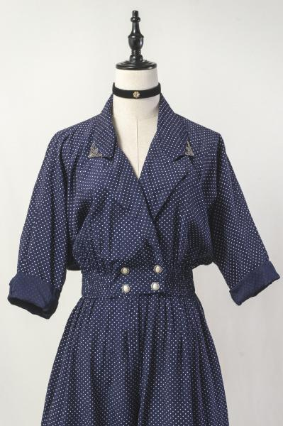 Dot Pattern Cache Coeur Navy All in one
