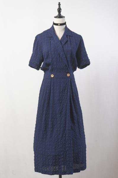 Nep Check Design Cache-coeur Navy Dress