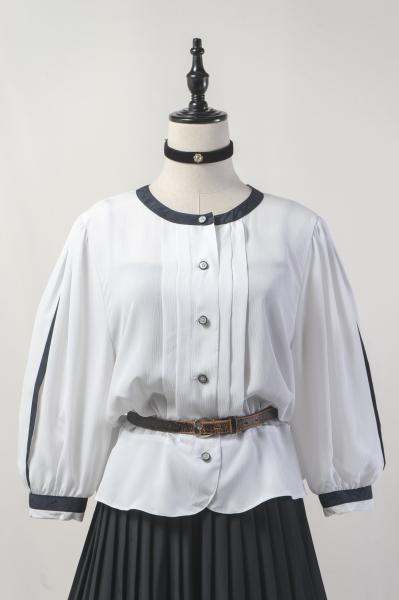 Made In W-Germany White Crinkle Blouse