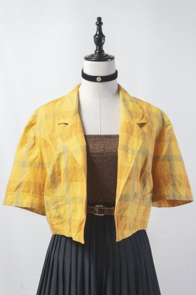 Made In Euro Yellow Check Short Jacket