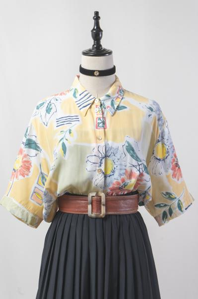 Made In Euro Art Flower×Pastel Blouse