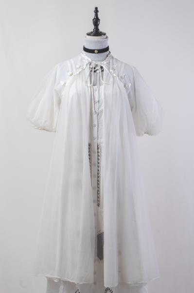 60's Flower Patch Design White Lingerie Gown