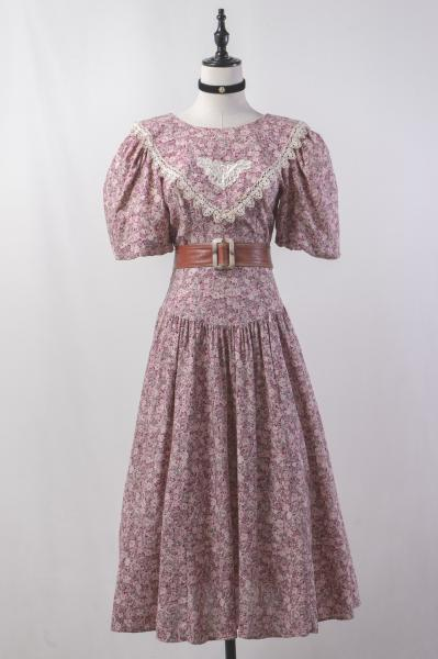 Triangle Lace Collar Flower Long Dress
