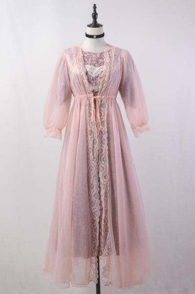 70's Lace×Pink Lingerie Maxi Gown