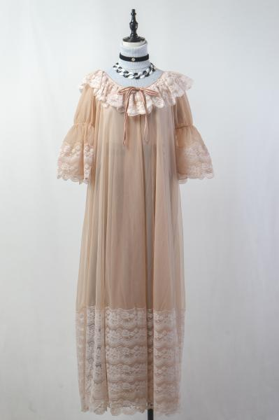 60~70's Frill Lace Pastel Brown Lingerie Maxi Gown