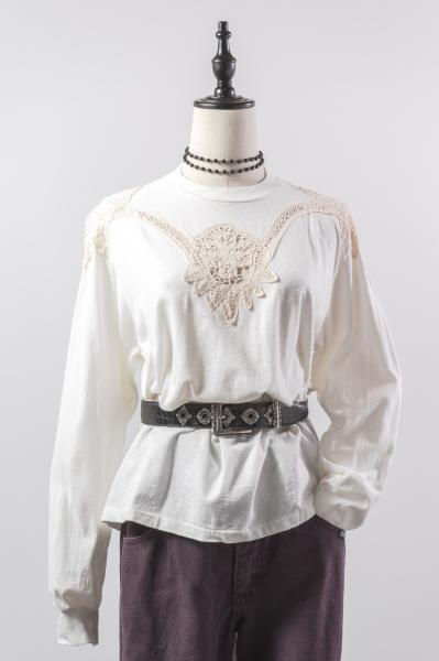 Lace Design White Long Tee