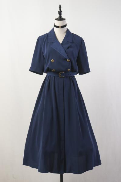Dead Stock Double Button Navy Dress