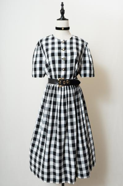 Monotone Gingham check Blouse×Skirt Set up