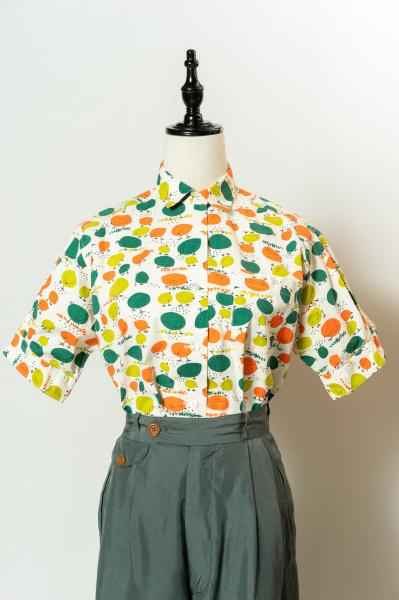 60's Colorful Bird Pattern Blouse