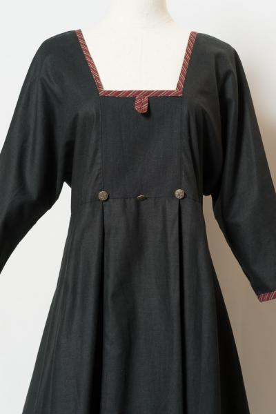 Square neck Black linen Dress